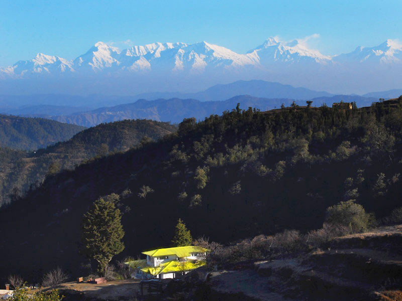 View of the Kumaon Himalayas from Dhanachuli